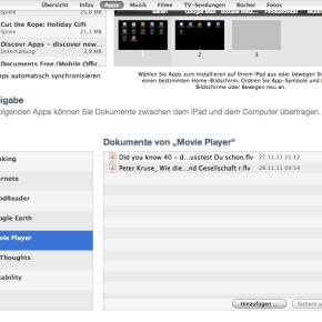 Videos per iTunes an die App Movie Player übergeben