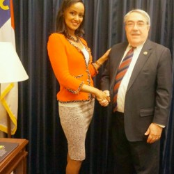 Ms. Sophia Bekele with  Congressman G. K. Butterfield,  Chair of the Congressional Black Caucus (CBC)