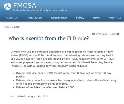 Who Is Exempt From DOT ELD Ruling?