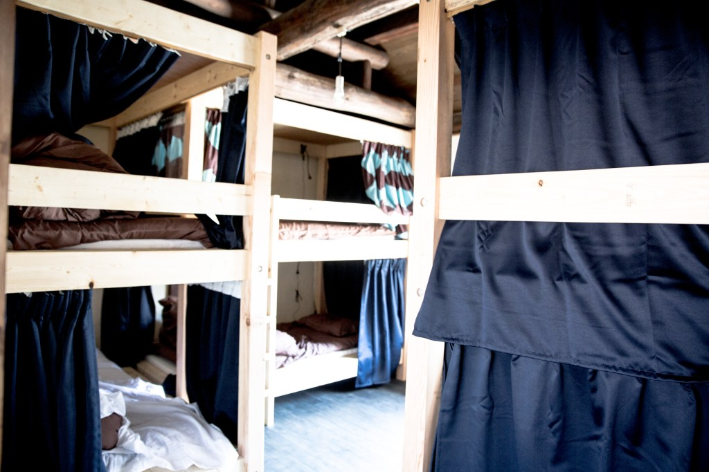 Bunk beds in the mixed dormitory
