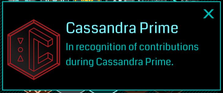 cassandra prime medal