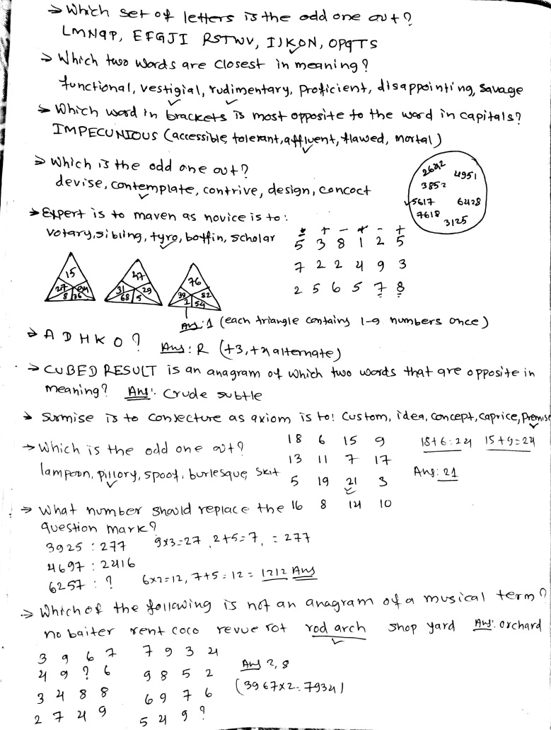 Intelligence Questions: FREE IQ PRACTICE Notes for Section