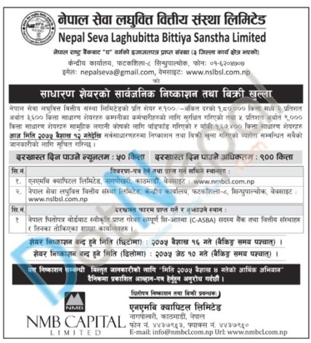 Nepal Seva Laghubitta IPO: Floating 1,80,000 Units IPO To