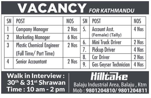 Hilltake Vacancy 2075