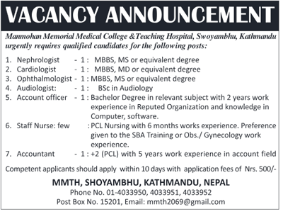 Manmohan Memorial College Vacancy
