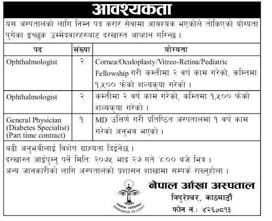 Nepal Eye Hospital Vacancy 2075