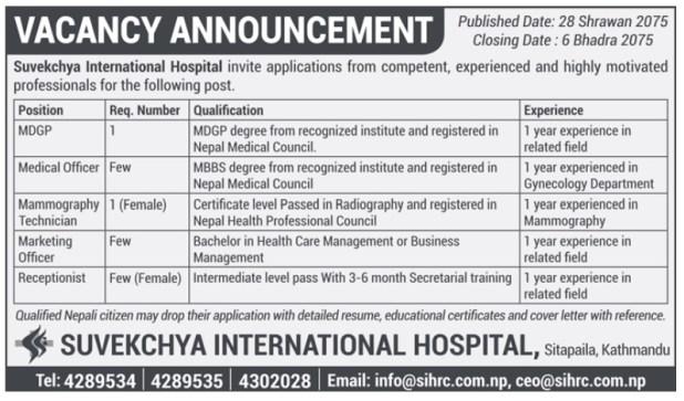 Suvekchya International Hospital Vacancy 2075