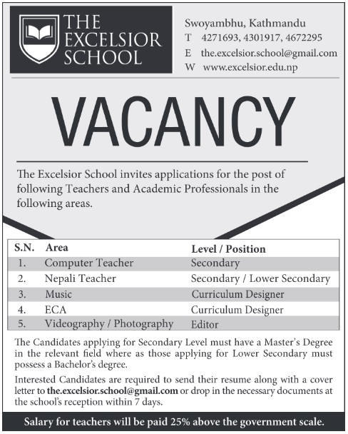 The excelsior school vacancy