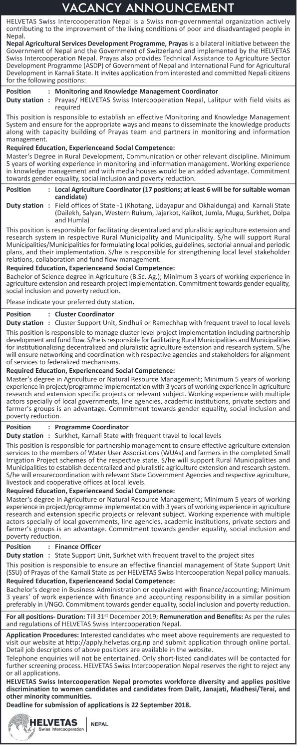 Helvetas Nepal Vacancy 2018