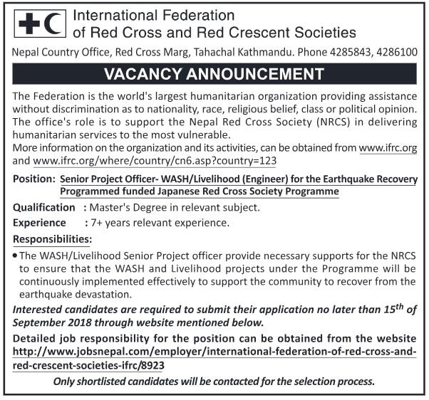International Federation of Red Cross Vacancy