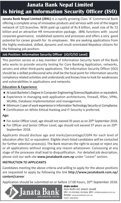 Janata Bank Nepal Vacancy 2018