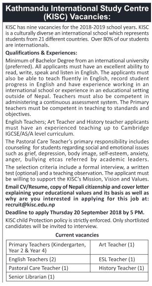 Kathmandu International Study Center Vacancy