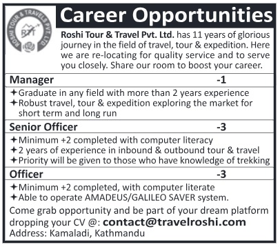 Roshi Tour and Travel Vacancy 2018
