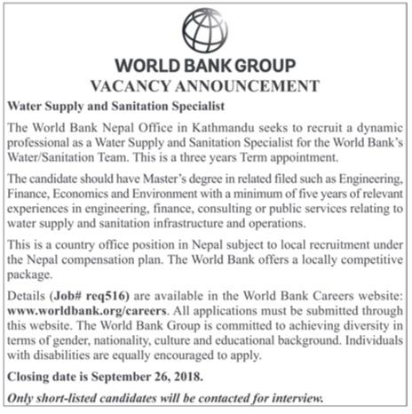 World Bank Nepal Office Vacancy 2018