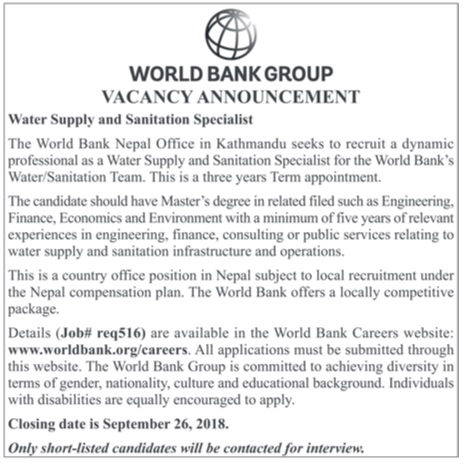 World Bank Nepal Office Vacancy 2018