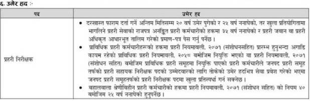 Nepal-Police-Inspector-Age
