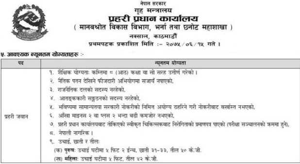 Nepal-Police-Jawan-Qualification