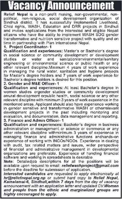Relief-Nepal-Vacancy-2018