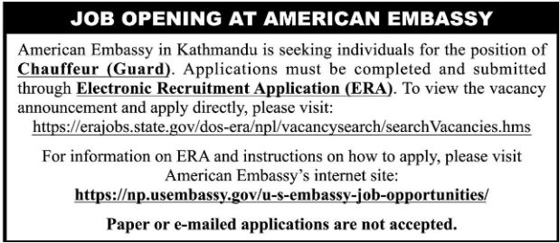 American Embassy Vacancy 2019