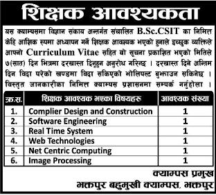 Bhaktapur Multiple Campus Vacancy 2076