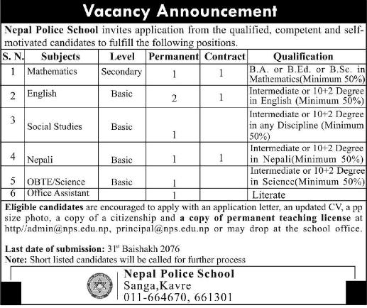 Nepal Police School Vacancy 2076