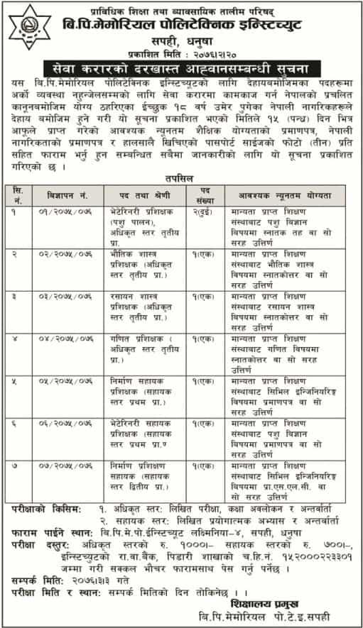 BP Memorial Polytechnic Institute vacancy 2076