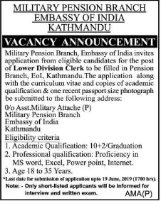 Embassy of India vacancy 2019