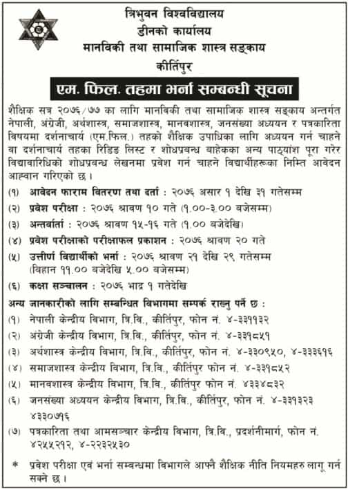 M Phil admission open 2019