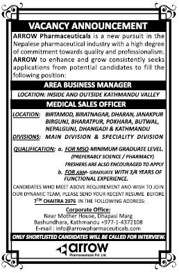 Arrow Pharmaceuticals Vacancy