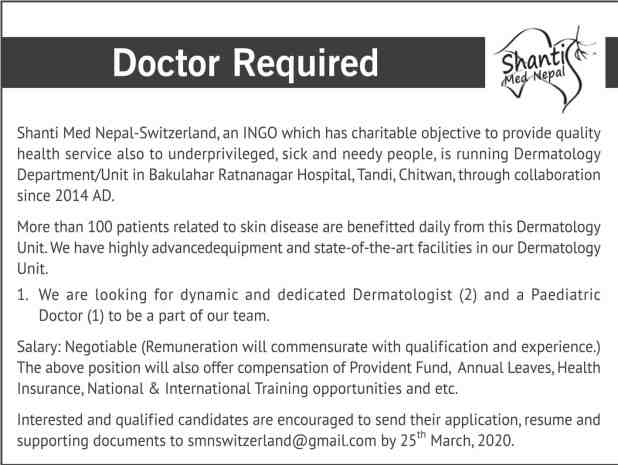 Dermatologist Job in Nepal