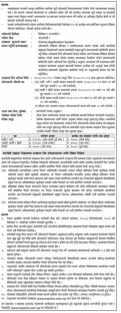 Nepal Reinsurance Company Vacancy