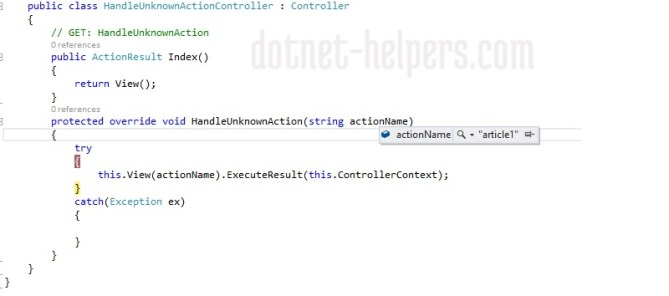 handlen-nonaction in mvc-dotnet-helpers