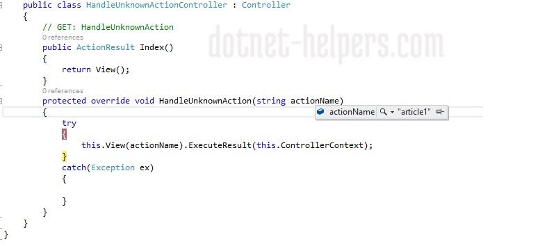 handlen-nonaction in mvc-dotnet-helpers