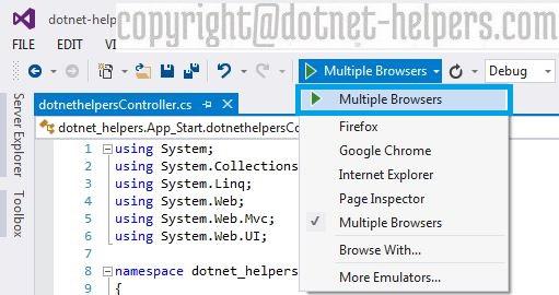 Enable Multiple borwser option in visual studio dotnet-helpers
