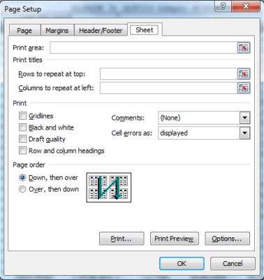 Printing Header Rows (titles) in all pages of Microsoft Excel 9