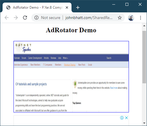 Using AdRotator in ASP.NET - Sample Ad DotNetSpider