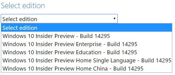 Windows 10 Insider Build 14295 ISO Download Options.