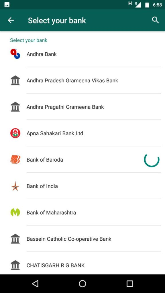 WhatsApp payment Bank Selection