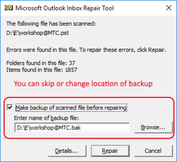 Microsoft Outlook Inbox Repair Tool - SCANPST Backup Notification