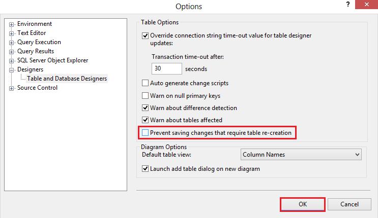 Designer Settings Changed SSMS Options