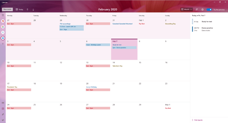 Calendar App Preview in Windows 10 Insider Preview Build 19564