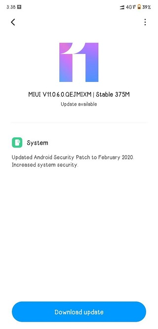 Android 10 on Poco F1 Build MIUI 11.0.6.0.QEJMIXM with February patch