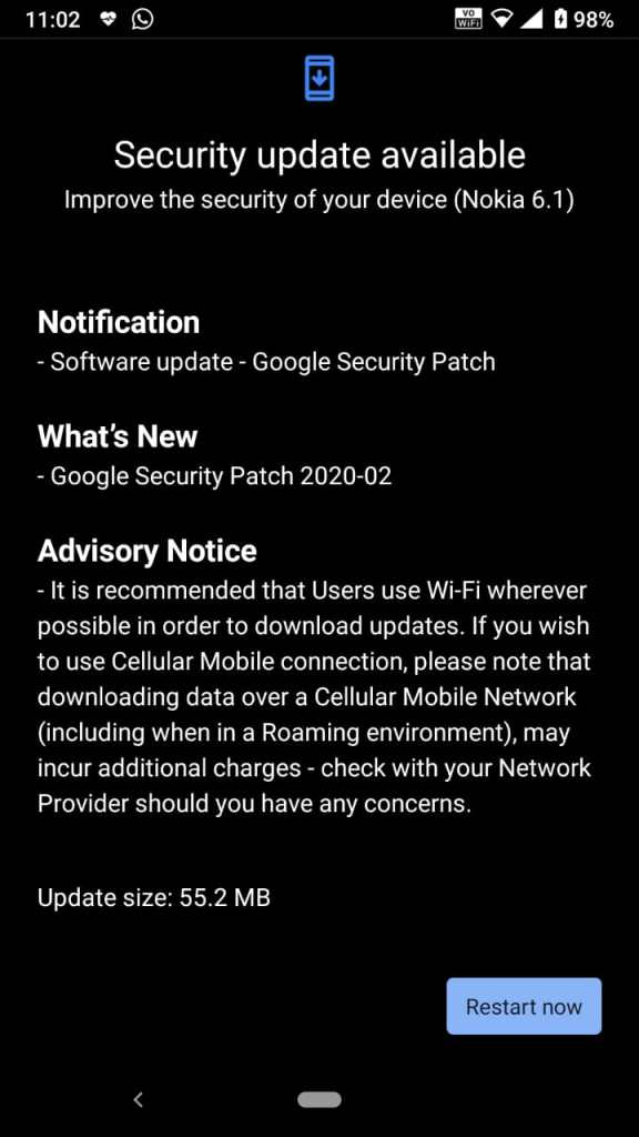 Update for Nokia 6.1 00WW_4_10C_SP02