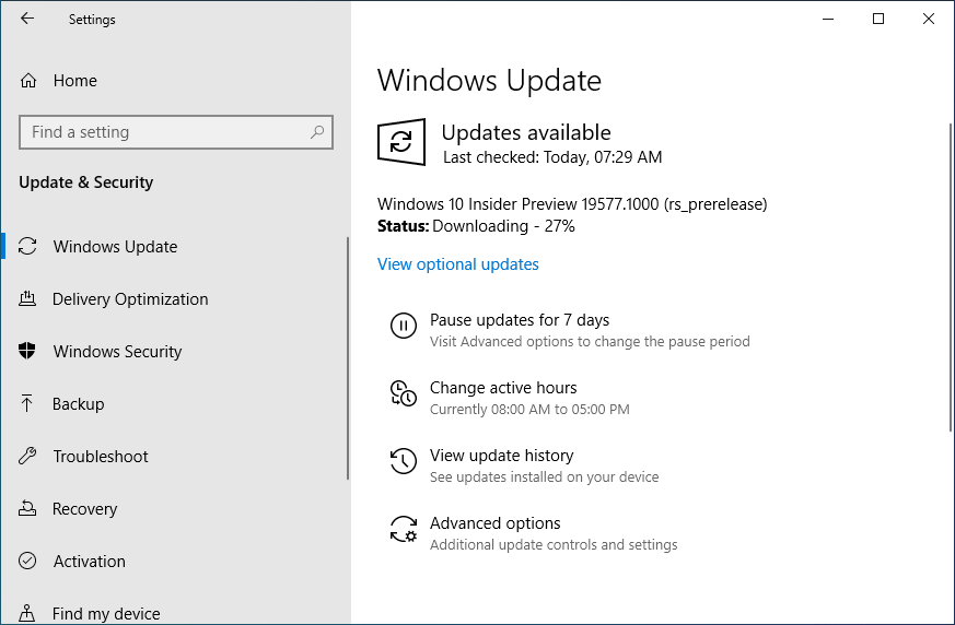 Windows 10 Insider Preview Build 19577 released in fast ring 1