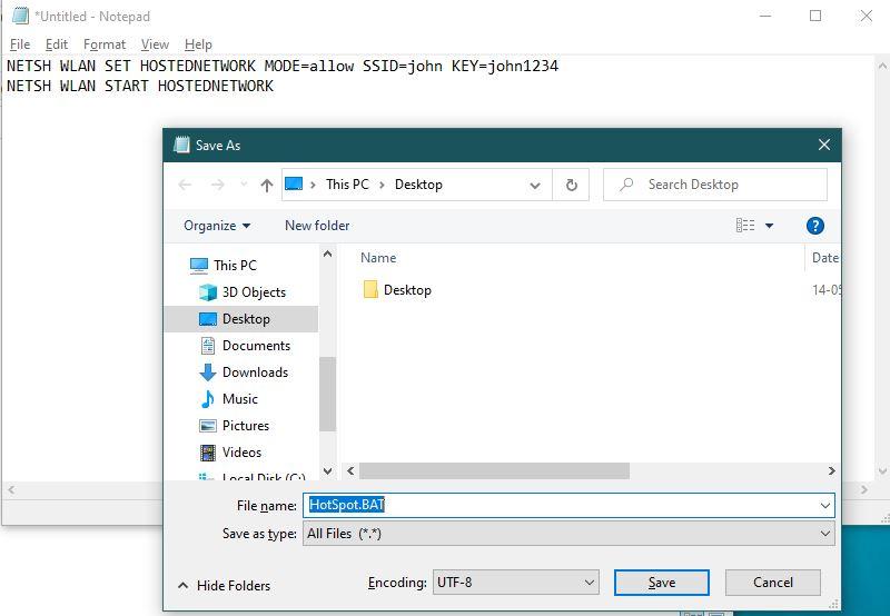 Create Batch file from Windows (BAT file from Windows)