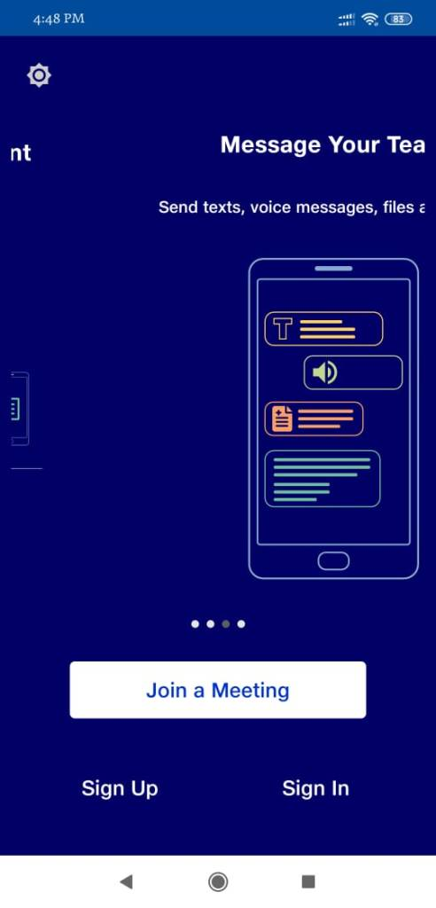 JioMeet App Home Page