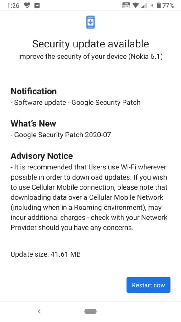 Software Update for Nokia 6.1 Build No 00WW_4_15C_SP02 with July 2020 Security Patch
