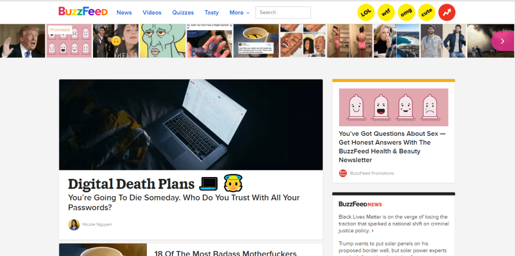 mobile friendly website example - buzzfeed mobile