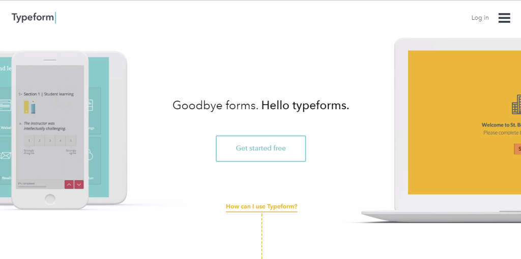 mobile friendly website exawmple - typeform