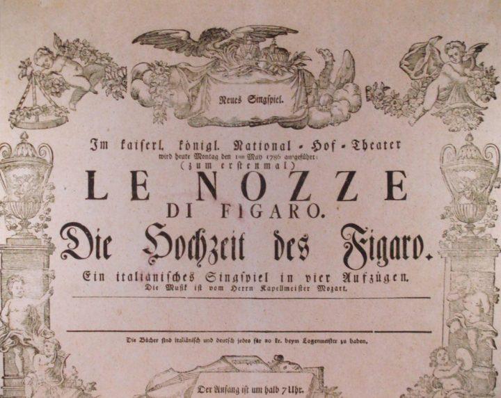 """Plakat für die Uraufführung. """"Le nozze di Figaro"""""""